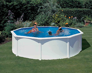 White Coral Wood Effect Oval Steel Pool 9.15m x 4.57m- Damaged Box
