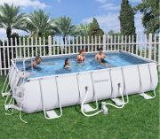 Bestway Steel Pro Silver Rectangular Frame Pool With Pump 18' x 9' x 48""