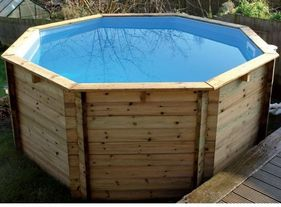 Plastica Octagonal Wooden Fun Pool 10ft x 48