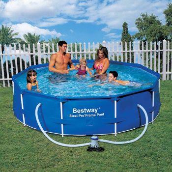 bestway steel pro metal frame round pool 10ft x 30. Black Bedroom Furniture Sets. Home Design Ideas