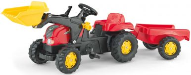 Rolly Kid Tractor with Frontloader & Trailer - Red
