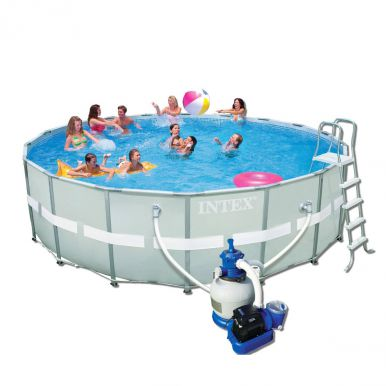 intex ultra metal frame round metal pool 18ft x 52 with sand filter. Black Bedroom Furniture Sets. Home Design Ideas