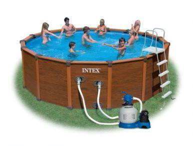 Intex Sequoia Spirit Wood Grain Metal Frame Round Pool