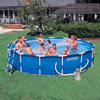 intex metal frame pool package 15ft x 42 28234 metal frame round pools. Black Bedroom Furniture Sets. Home Design Ideas