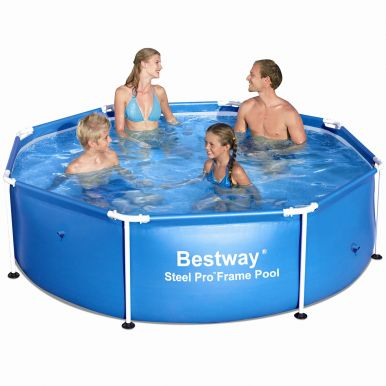 8ft x 24 octagonal paddling pool 56431 metal frame round pools. Black Bedroom Furniture Sets. Home Design Ideas