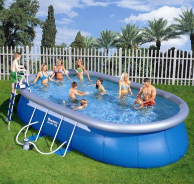 Bestway Oval Frame Inflatable Pool 12ft x 18ft x 48""