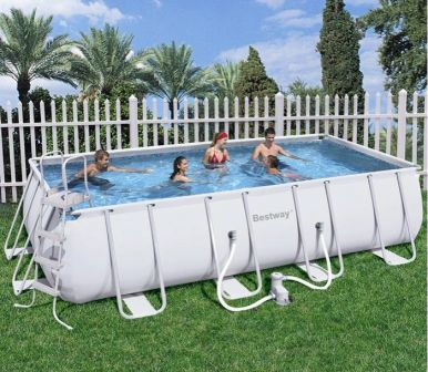 Bestway steel pro silver rectangular frame pool with pump for Best pool buys canada