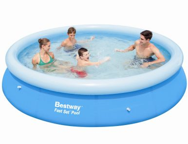 bestway fast set round inflatable pool 12ft x 30 57032. Black Bedroom Furniture Sets. Home Design Ideas
