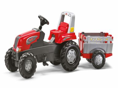 Rolly Junior RT Tractor & Farm Trailer - Red
