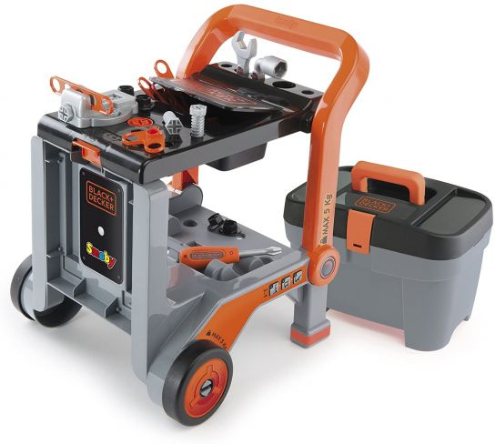 Smoby Black Amp Decker Devil 3 In 1 Tool Workbench Trolley Play Set Action Figures Amp Roleplay