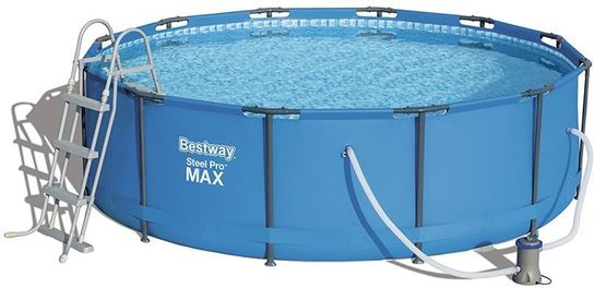 Bestway steel pro metal frame round pool package 12ft x 39 1 2 new generation for Metal frame swimming pool 12 x 39