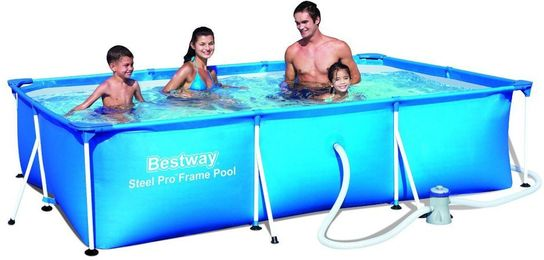 bestway steel pro rectangular frame pool with pump 157 x 83 x 32. Black Bedroom Furniture Sets. Home Design Ideas
