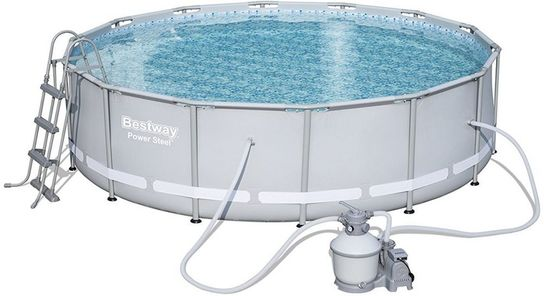 Bestway Power Steel Metal Frame Round Pool With Sand Filter 14ft x 42\