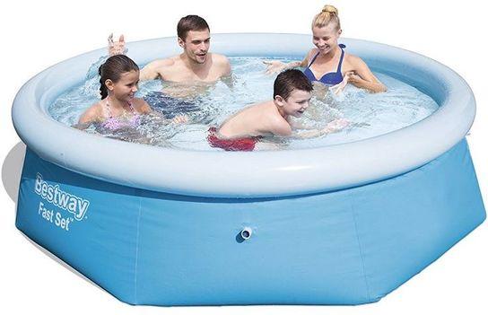 bestway fast set round inflatable pool 8ft x 26 no pump 57265. Black Bedroom Furniture Sets. Home Design Ideas