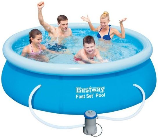 "Bestway Fast Set Round Inflatable Pool 8ft x 26"" With Pump - 57268"