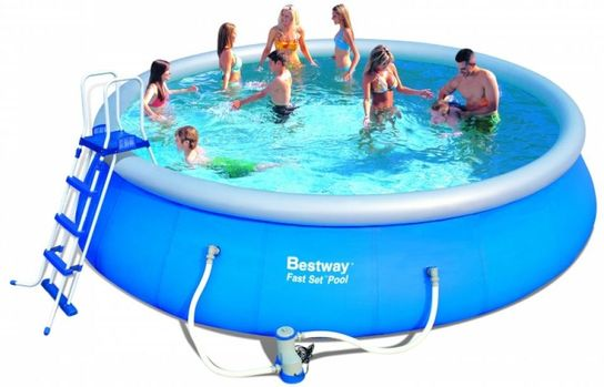 Favorit Bestway Fast Set Round Inflatable Pool Package 15ft x 48