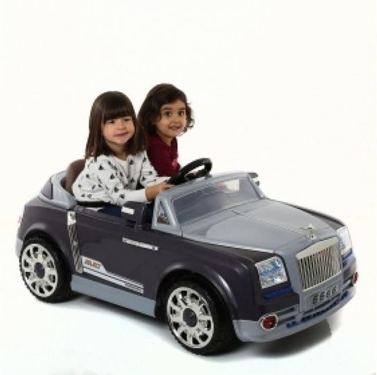 Kids Twin 6V Grand Tourer GT Style Ride On Car (Grey) With Remote Control