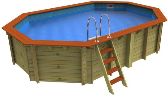 Plastica Stretched Octagonal Wooden Pool 5.5m X 3.6m Belgravia
