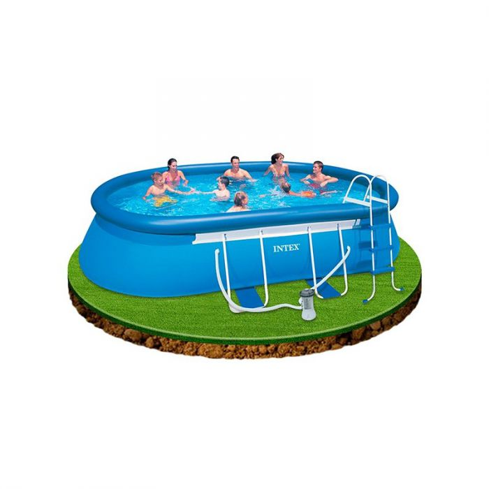intex oval framed inflatable pool package 18ft x 10ft x 42. Black Bedroom Furniture Sets. Home Design Ideas