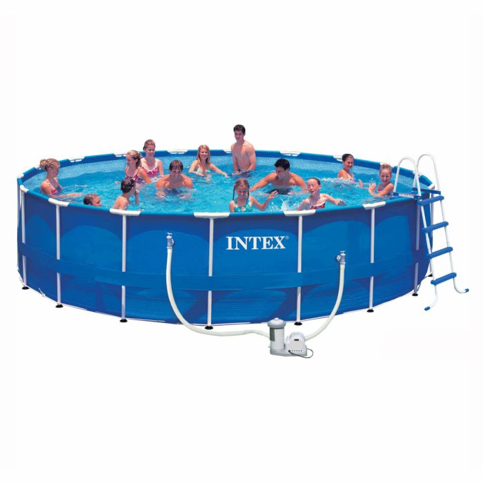 Intex metal frame pool package 18ft x 48 28252 metal for Piscinas desmontables rectangulares precios