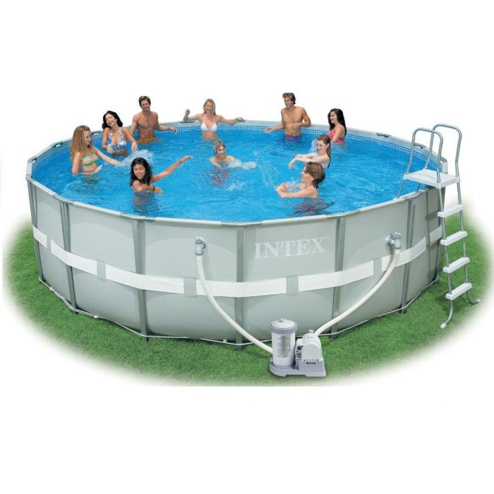 Intex ultra metal frame round metal pool 16ft x 48 for Plastik pool rund