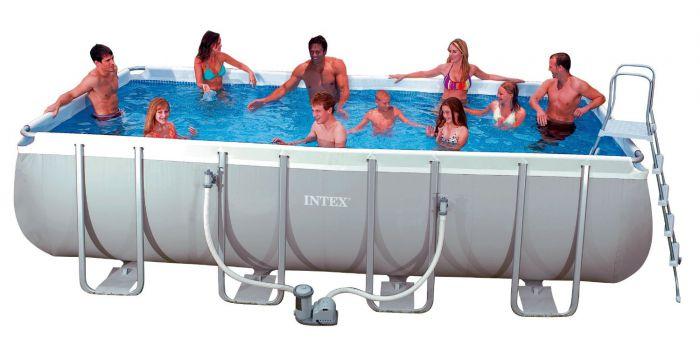 Intex Ultra Frame Rectangular Metal Pool 12 39 X 24 39 X52 With Sand Filter