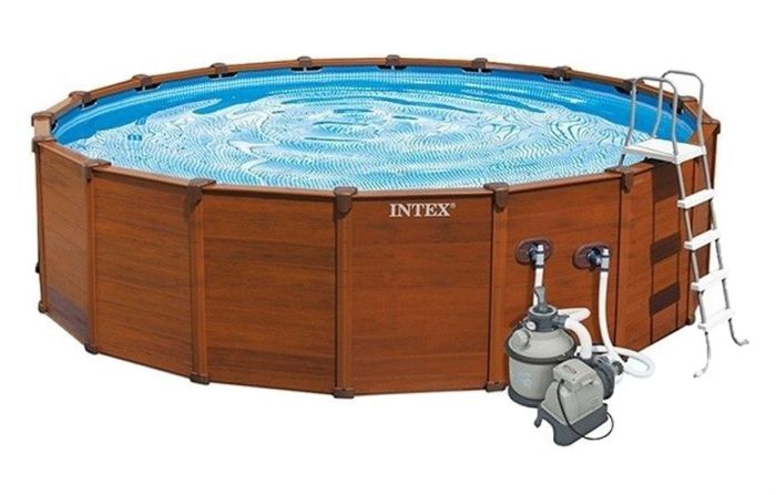 Intex Sequoia Spirit Wood Grain Metal Frame Round Pool