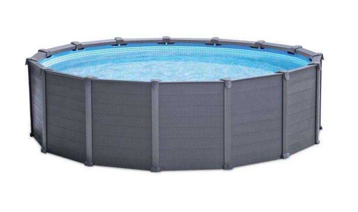 Intex Graphite Panel Round Pool 15ft 8 X 49 28382uk Metal Frame Round Pools