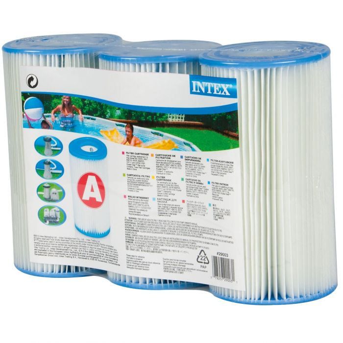 Intex 29003 Type A Cartridge Filter Pack Of 3 Pool Filters