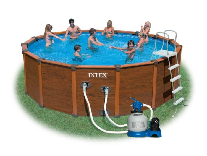 Intex sequoia spirit wood grain metal frame round pool for Intex sequoia