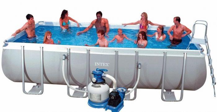 Intex Ultra Frame Rectangular Metal Pool 9 39 X 18 39 X 52 With Sand Filter