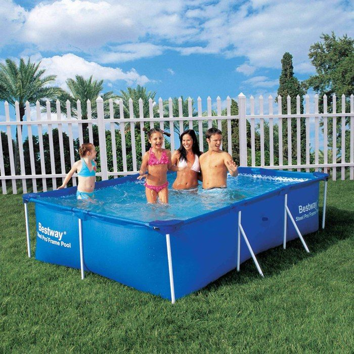 bestway steel pro rectangular frame pool no pump 102 x 67 x 24. Black Bedroom Furniture Sets. Home Design Ideas