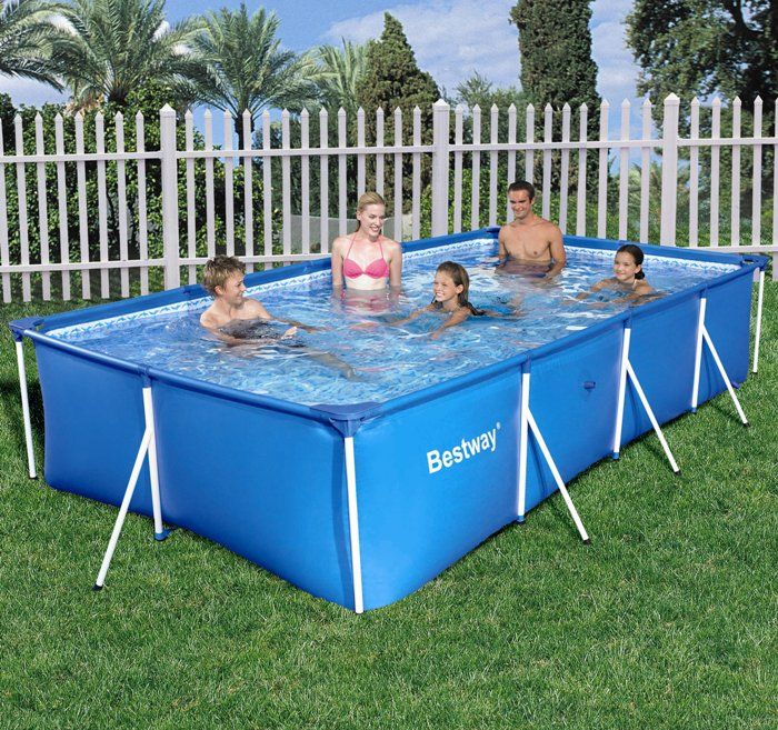 Rectangular frame paddling pool 157 no pump from bestway for Garden paddling pools