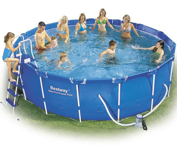 Bestway steel pro metal frame round pool package 15ft x 48 - Bestway steel frame swimming pool ...