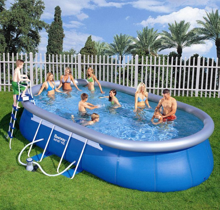 Bestway oval frame inflatable pool 12ft x 18ft x 48 for 12 ft garden pool