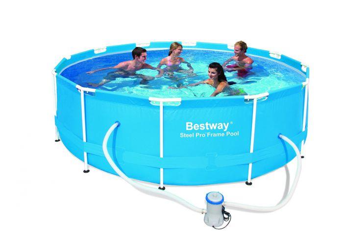 bestway steel pro metal frame round pool package 12ft x 39 1 2 56260 metal frame round pools. Black Bedroom Furniture Sets. Home Design Ideas