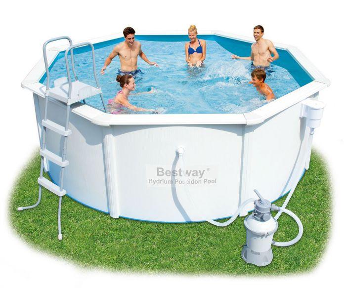 bestway hydrium poseidon steel pool package 12ft x 48 56574 metal frame round pools. Black Bedroom Furniture Sets. Home Design Ideas