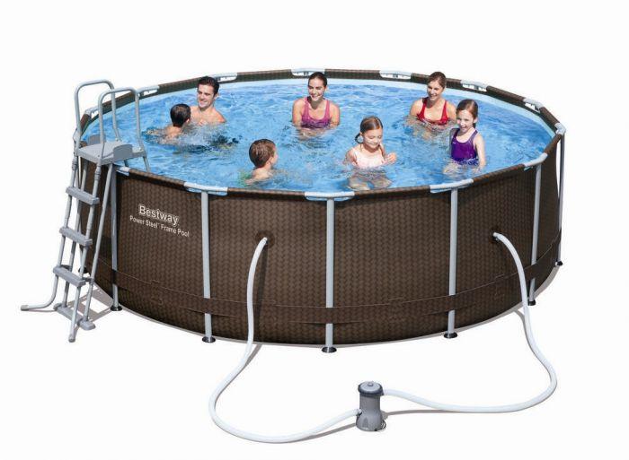 bestway steel pro rattan frame pool set x 56379 metal frame round pools. Black Bedroom Furniture Sets. Home Design Ideas