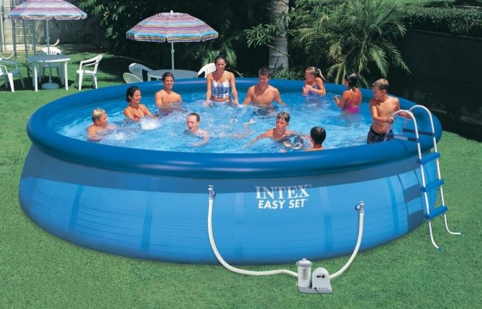 Intex easy set inflatable pool package 18ft x 42 Intex inflatable swimming pool