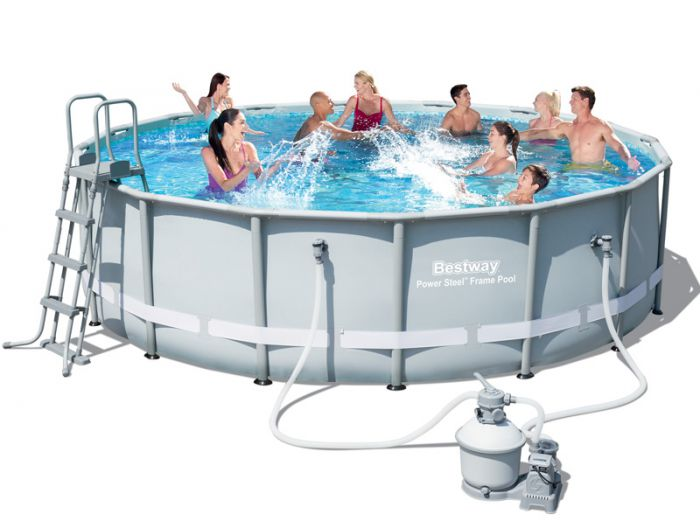 Bestway steel pro silver metal frame round pool 16ft x 48 - Bestway steel frame swimming pool ...
