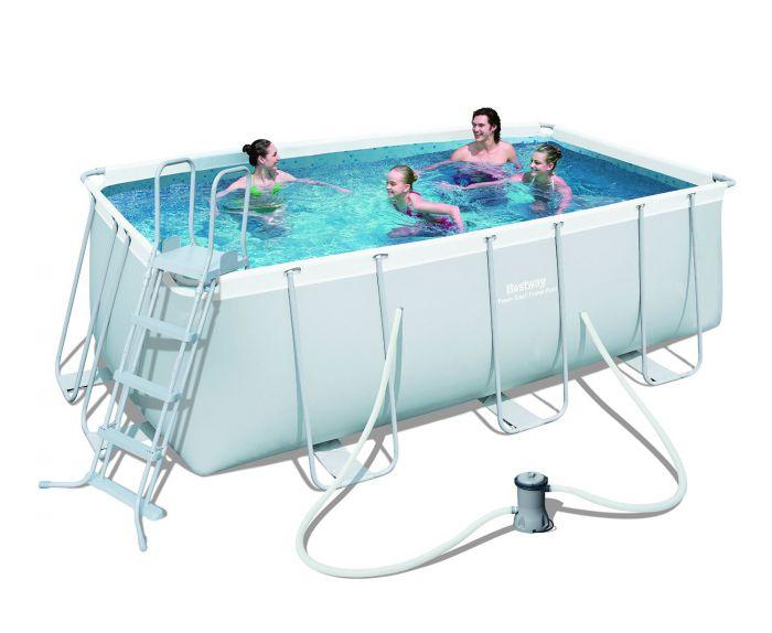 Bestway steel pro silver rectangular frame pool with pump - Bestway power steel frame pool ...