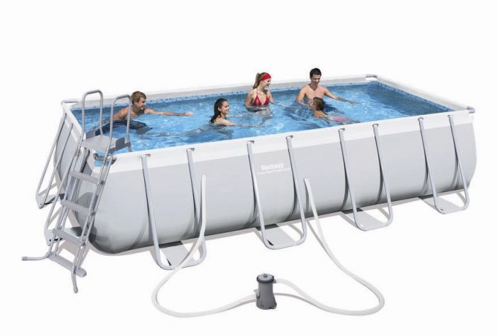 Bestway steel pro silver rectangular frame pool with pump for Paddling pool heater