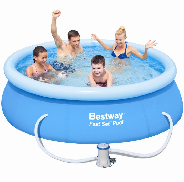 bestway fast set round inflatable pool 8ft x 26 with pump. Black Bedroom Furniture Sets. Home Design Ideas
