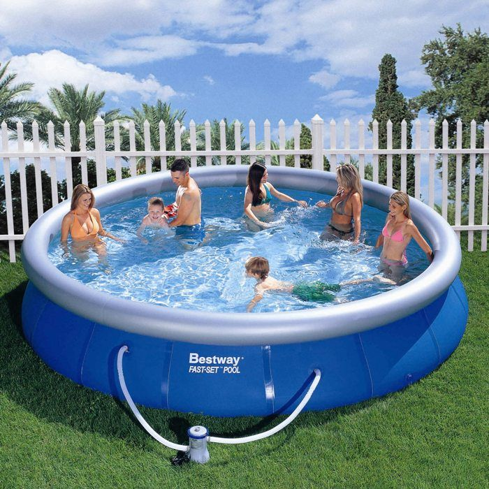 bestway fast set round inflatable pool 15ft x 36. Black Bedroom Furniture Sets. Home Design Ideas