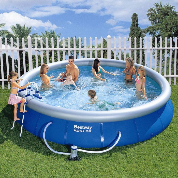 bestway fast set round inflatable pool package 15ft x 36. Black Bedroom Furniture Sets. Home Design Ideas
