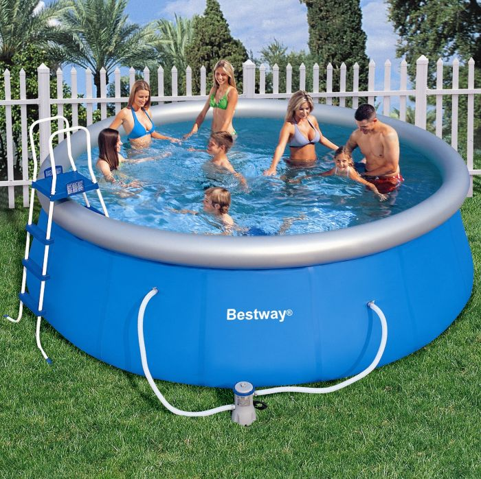 bestway fast set round inflatable pool package 15ft x 48. Black Bedroom Furniture Sets. Home Design Ideas