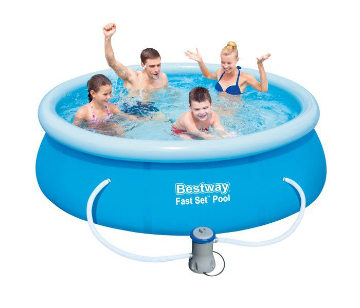 Bestway fast set round inflatable pool 8ft x 26 with pump Inflatable quick set swimming pool