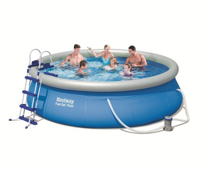 bestway fast set round inflatable pool 12ft x 36 57263. Black Bedroom Furniture Sets. Home Design Ideas