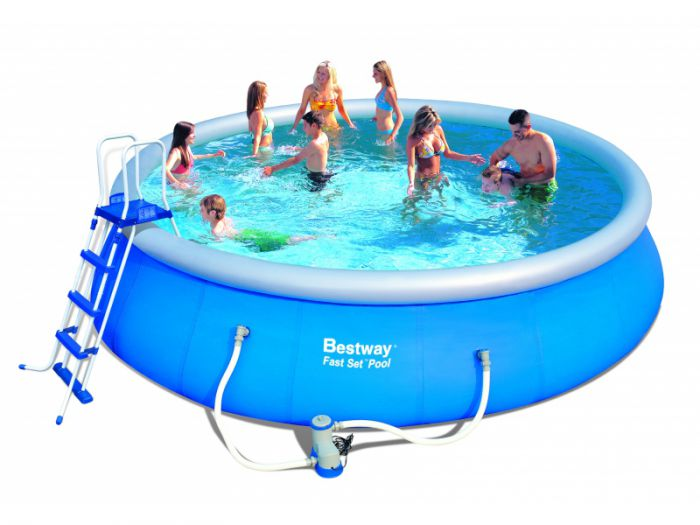 Bestway fast set round inflatable pool package 15ft x 48 for Best pool buys canada