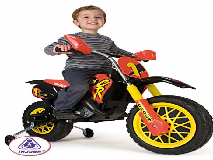 Injusa Motocross Scrambler with Helmet - 6 Volt Thumnail #0